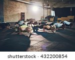 fit young people doing pushups... | Shutterstock . vector #432200854
