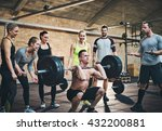 fit man lifting barbells... | Shutterstock . vector #432200881