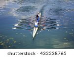 four women rowing on the... | Shutterstock . vector #432238765