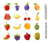 fruit icons in cartoon style.... | Shutterstock .eps vector #432240397