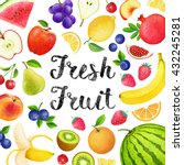 colorful background with fruits ... | Shutterstock . vector #432245281