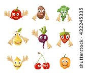 cute cartoon vegetables and... | Shutterstock .eps vector #432245335