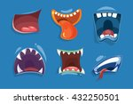cute monster mouths vector set. ...