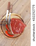 fresh raw beef meat steak chunk ... | Shutterstock . vector #432252775
