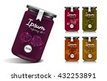 glass jar with with jam ... | Shutterstock .eps vector #432253891