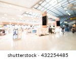 Small photo of Abstract blur airport terminal interior for background
