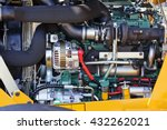 view on motor of new excavator... | Shutterstock . vector #432262021