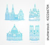 linear icon set. world famous... | Shutterstock .eps vector #432266704