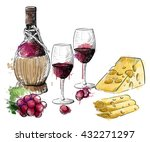Watercolor Wine And Cheese...