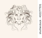 graphic illustration of lion... | Shutterstock .eps vector #432277531