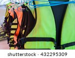 Small photo of Life jacket or life vest or air jacket and white surf