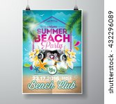 vector summer beach party flyer ... | Shutterstock .eps vector #432296089