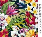 watercolor tropical pattern ... | Shutterstock . vector #432299221