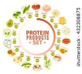 high protein products... | Shutterstock .eps vector #432308875