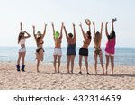 cheerful  group of girls on... | Shutterstock . vector #432314659