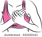 fitness woman with chest pain... | Shutterstock .eps vector #432320161
