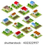 set of townhouses and rural... | Shutterstock .eps vector #432322957