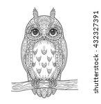 Hand Drawn Vector Owl Zentangl...