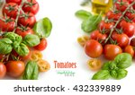 cherry tomatoes and basil... | Shutterstock . vector #432339889
