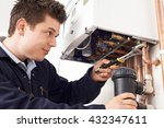 male plumber working on central ... | Shutterstock . vector #432347611