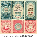 old cards set with floral... | Shutterstock .eps vector #432349465