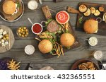 different food on a wooden... | Shutterstock . vector #432365551