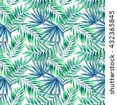 watercolor tropical leaves... | Shutterstock . vector #432365845