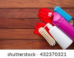 house cleaning set on wooden... | Shutterstock . vector #432370321