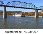 Paddle Wheel River Boat at the dock in Chattanooga, TN - stock photo
