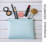 make up bag with products... | Shutterstock . vector #432408724