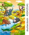 african animals   cartoon... | Shutterstock .eps vector #432415141