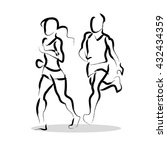 hand drawn fitness people... | Shutterstock . vector #432434359