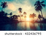 soft sunset on a palm tree... | Shutterstock . vector #432436795