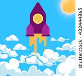 rocket and white clouds cartoon ...   Shutterstock .eps vector #432444865