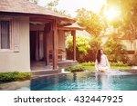 beautiful woman sitting at... | Shutterstock . vector #432447925