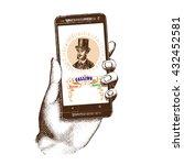 mobile phone ringing vector... | Shutterstock .eps vector #432452581