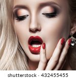 fashion blonde woman with... | Shutterstock . vector #432455455