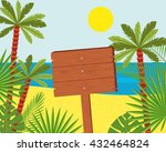 wooden signs on a beautiful... | Shutterstock .eps vector #432464824