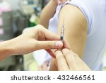 Small photo of Vaccination for women in vaccine room.Selective focus.Medical concept.