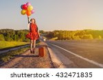 young happy woman jumping with... | Shutterstock . vector #432471835
