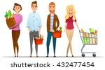 characters set  shopping ... | Shutterstock .eps vector #432477454