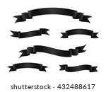 set of black ribbon banners.... | Shutterstock .eps vector #432488617