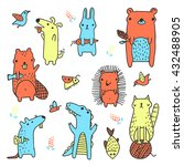 set of cute colorful vector... | Shutterstock .eps vector #432488905