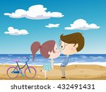girl and boy on sea background | Shutterstock .eps vector #432491431