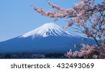mount fuji and cherry blossoms... | Shutterstock . vector #432493069