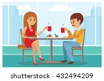 couple sitting in the cafe ... | Shutterstock .eps vector #432494209