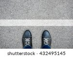 Black Casual Shoes Standing At...