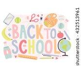 cute pastel set of school... | Shutterstock .eps vector #432513961