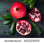 fresh juicy pomegranate   whole ... | Shutterstock . vector #432525055