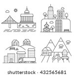 city and village landscapes set ... | Shutterstock .eps vector #432565681